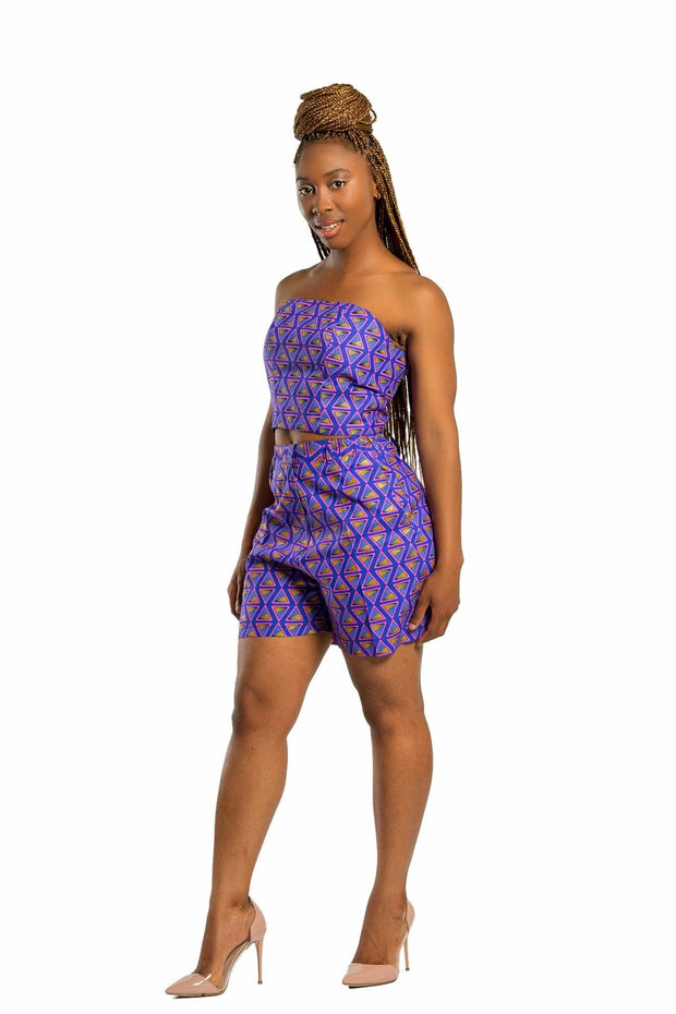 Short - Nina Women's African Print Short - Purple