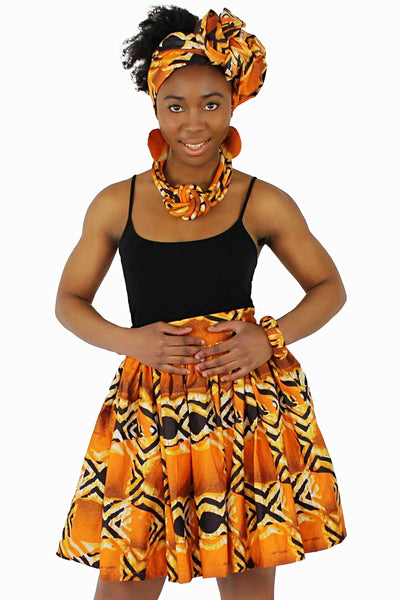Ayo African Print Mini Skirt - Orange / Black - Afrilege