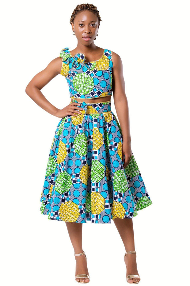 Deli Bow Side Midi African Print Skirt - Green - Afrilege
