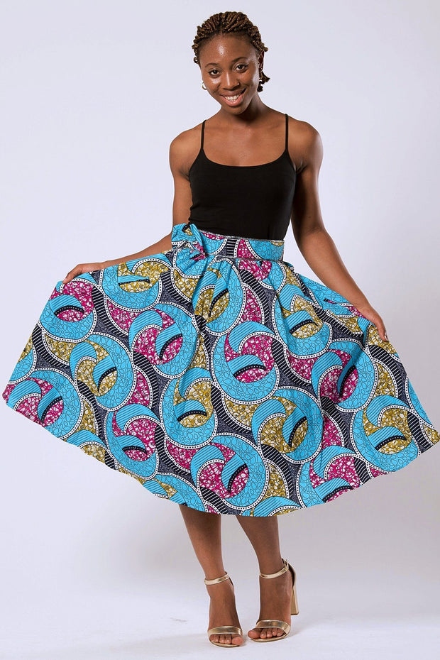 Delu Bow Side Midi African Print Skirt - Blue/ Pink/ yellow - Afrilege
