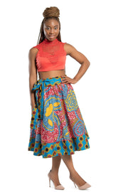 Skirt - Sanaa African Print 2-seasons Midi Skirt - Red/ Blue
