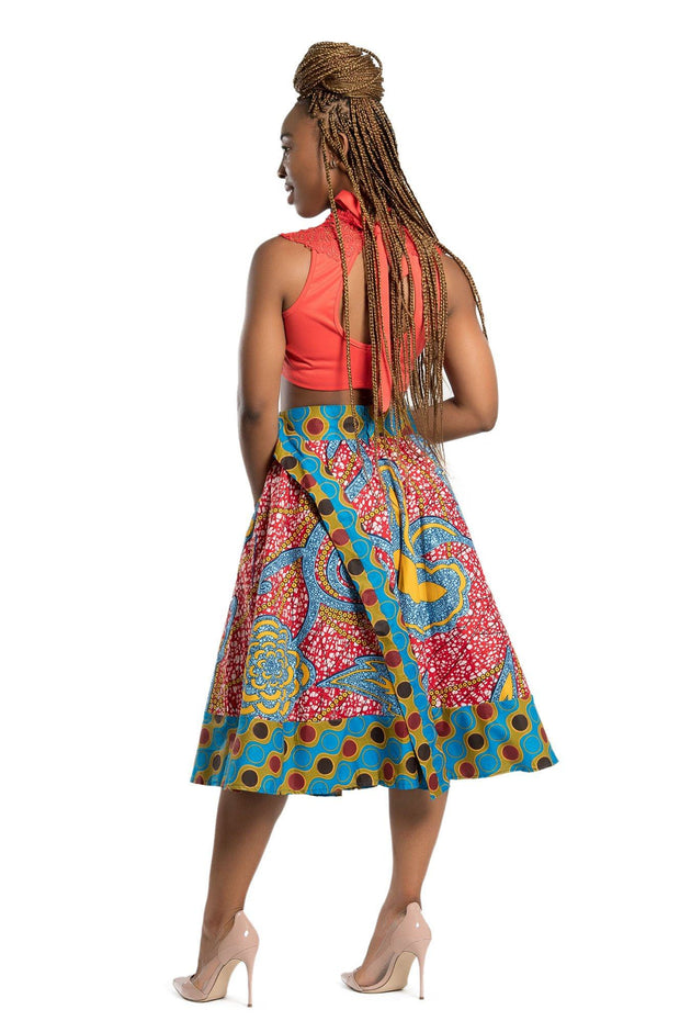 Sanaa African Print 2-seasons Midi Skirt - Red/ Blue - Afrilege