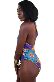 African print one piece Swimwear ( Blue, Purple & Orange) - Afrilege