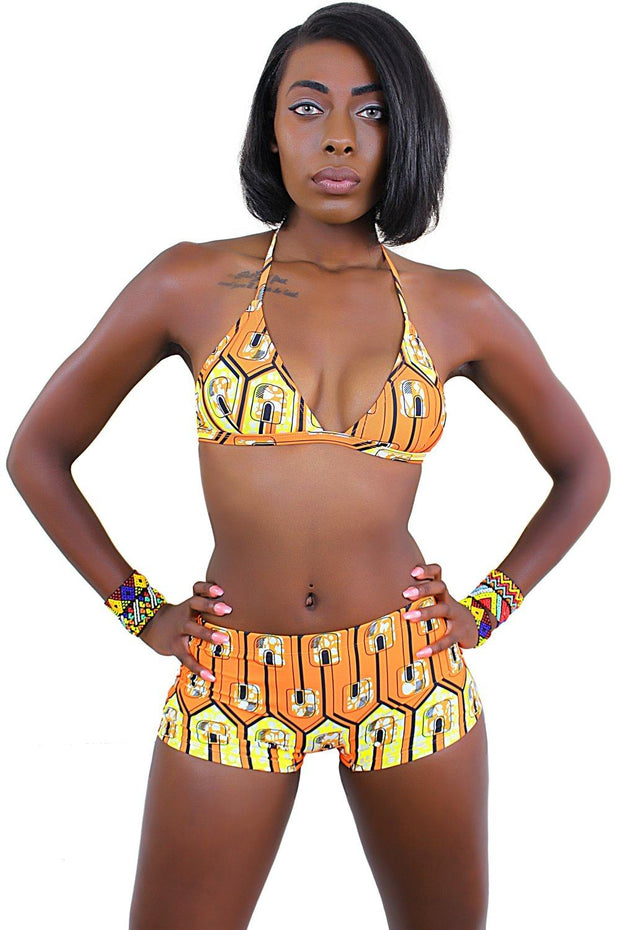 African Print Swimwear 2-pieces Bikini ( Orange / Yellow) - Afrilege