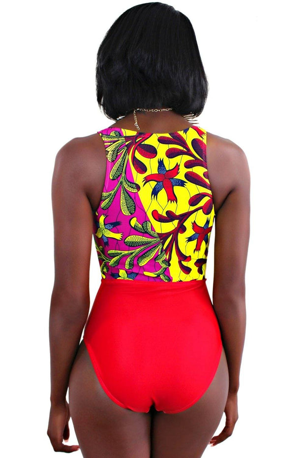 African Print Tie-Front One-Piece Swimsuit (Red) - Afrilege