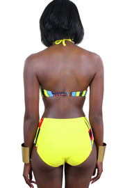 Kente African print Swimwear 2-pieces Bikini - Yellow, Red & Blue - Afrilege
