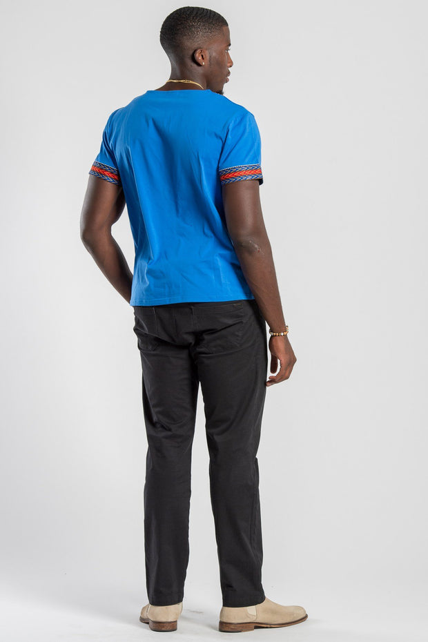 Blue African Dashiki Men T-shirt - Afrilege