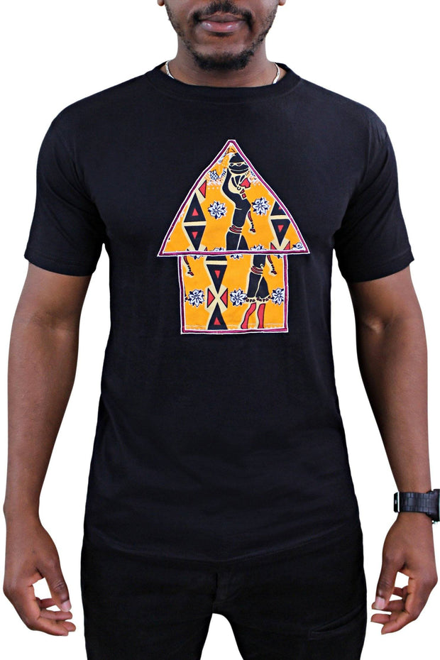 Masika Black African Hut Men T-shirt - Afrilege