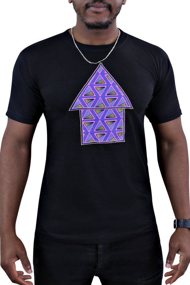 Nina Black African Hut Men T-shirt - Afrilege