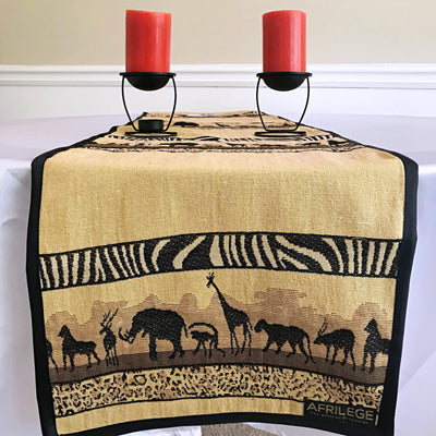 African Safari African Print table runners (Brown) - Afrilege