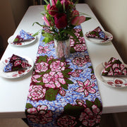 Aisha Floral African Print table runners with napkins (Blue/ Pink) - Afrilege