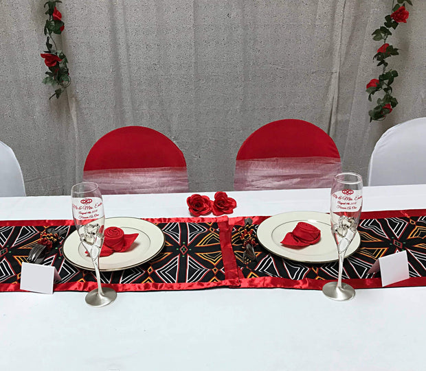 Bamenda Toghu African Print table runners (Black/ Red/ White) - Afrilege