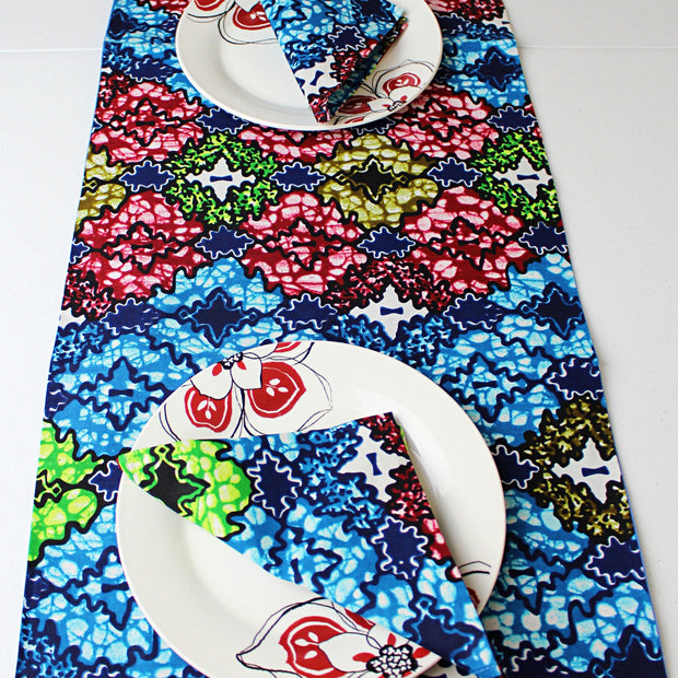 Fairy African Print table runners with napkins (Blue/ Green/ White) - Afrilege