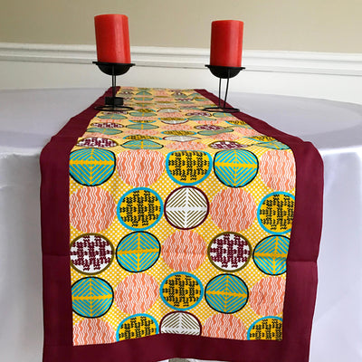 Ife African Print table runners (Maroon/ Orange/ Green) - Afrilege
