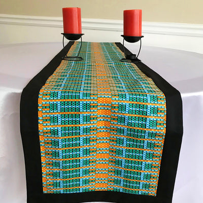 Jayde African Print table runners (Orange/ Green/ Black) - Afrilege