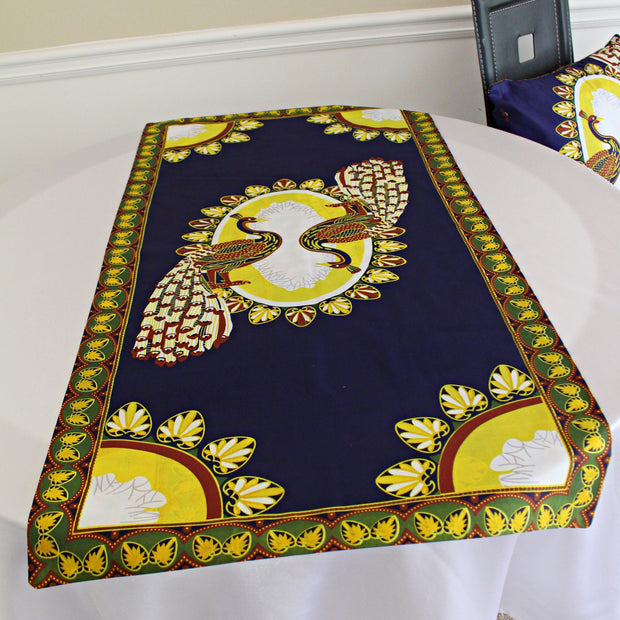 Morowa African Print table runners ( Navy / Gold) - Afrilege