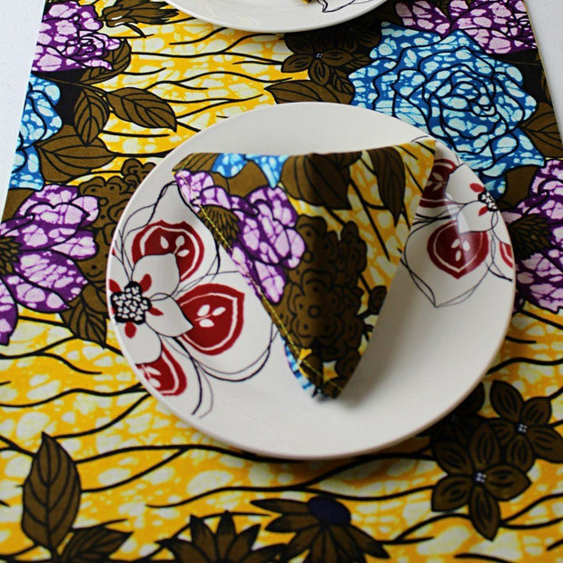 Table Runners - Salma African Print Table Runners With Napkins (Yellow/ Green/ Blue)