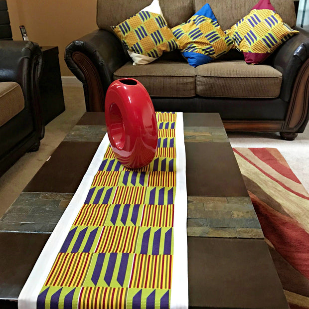 Sheena African Print Kente table runners ( yellow/ purple / Green) - Afrilege