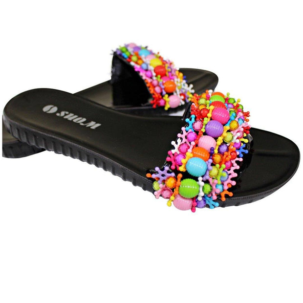 Colorful Beads Women African Sandals US 10.5 / EU 42 - Afrilege