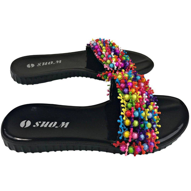 Colorful Beads Women African Sandals US 8.5 / EU 39 - Afrilege
