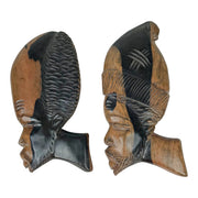 Wood Head Face Wall Plaques Hand Carved African Silhouettes