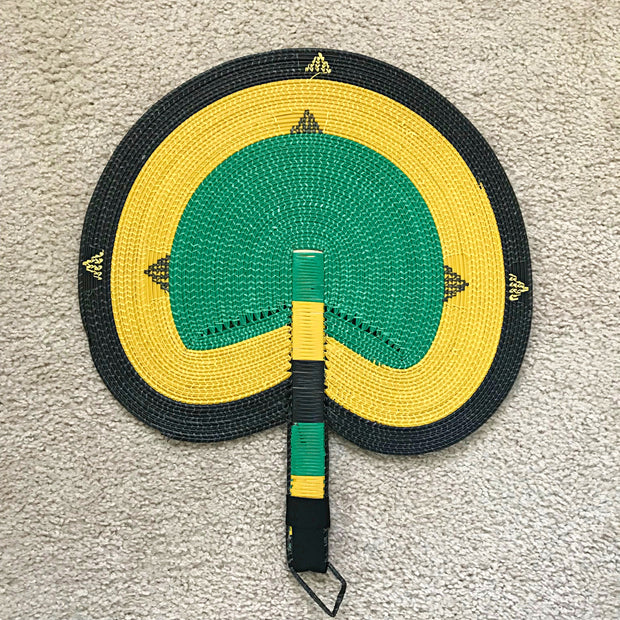 African woven hand fan from recycled plastics - Green / yellow / Black - Afrilege