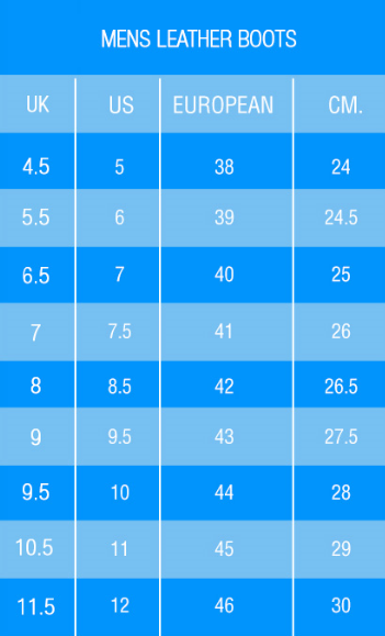 Mens Boots Size Chart