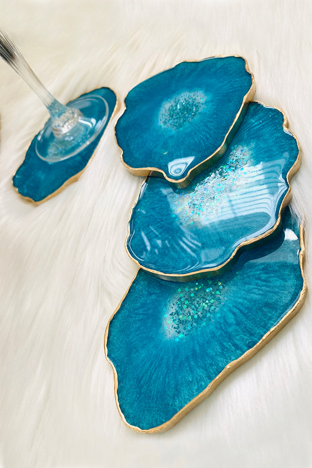 Aqua Aura Quartz Coasters - ShopAuthentique