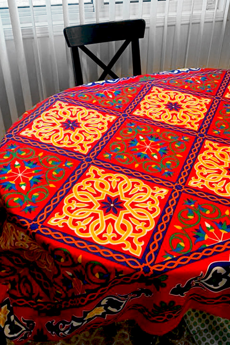 Red Printed Egyptian Ramadan Khayamiya Tablecloth - ShopAuthentique