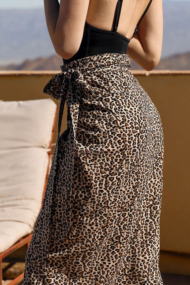 The Leopard Wrap Skirt| Brunette x Koy Resort