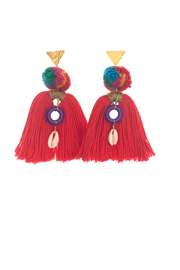 Coral Tassle Earrings