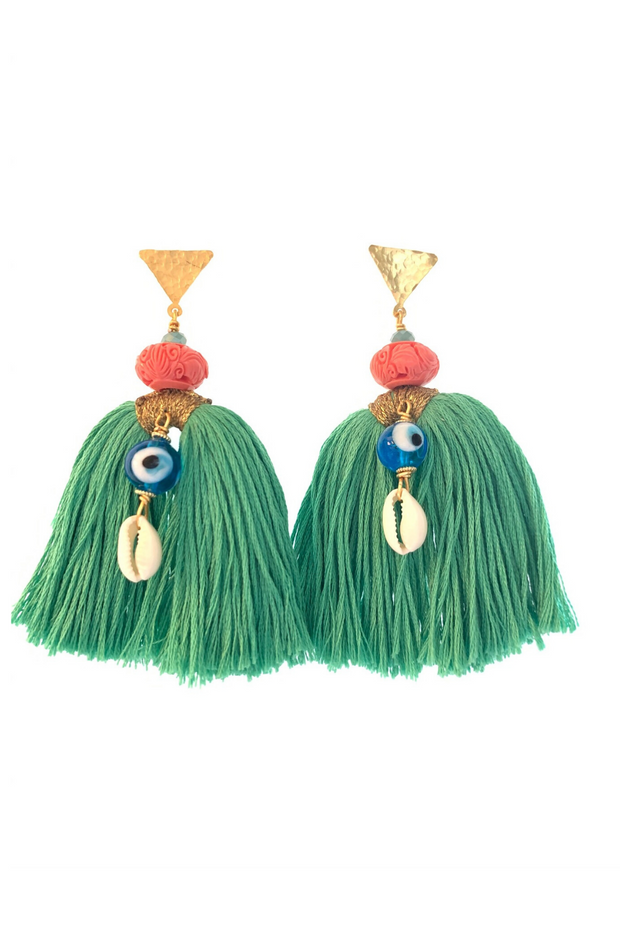 Teal Tassle Earrings