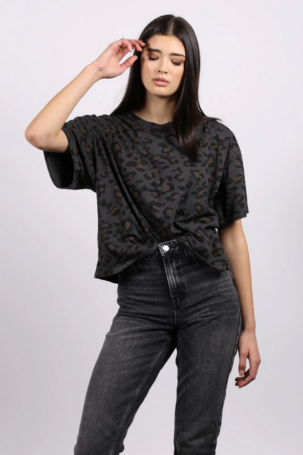 "The ""SLATE LEOPARD"" Vintage Boxy Crew Neck Tee"