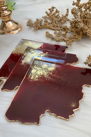 Maroon Pie Quartz Coaster Set