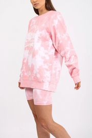 "The ""VARSITY CROWN CREST"" Pink Marble Tie-Dye Big Sister Crew Neck Sweatshirt"