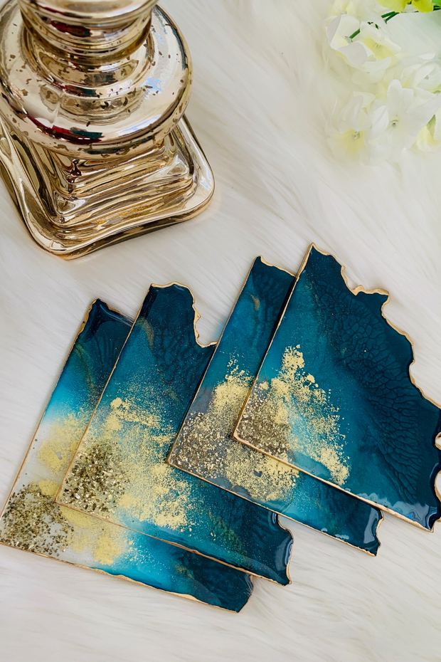 Turquoise Pie Quartz Coaster Set