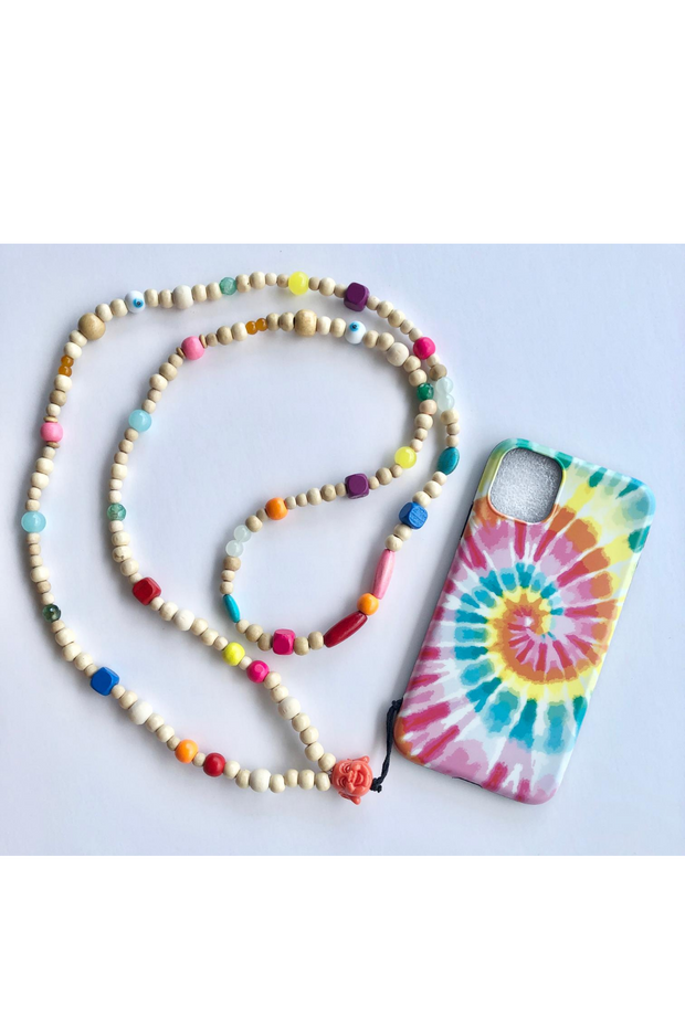 Colorful Phone Necklace with Tie Dye iPhone 11 Case
