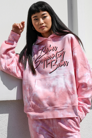 "The ""BABES SUPPORTING BABES"" Pink Marble Tie-Dye Step Sister Hoodie"