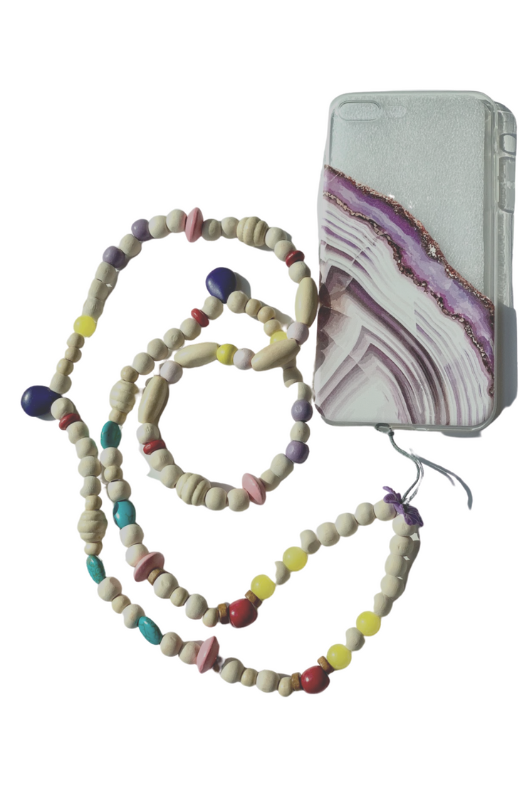 Marble Phone Necklace with iPhone Case