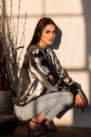 Black & Grey Sequin Sweatshirt - ShopAuthentique