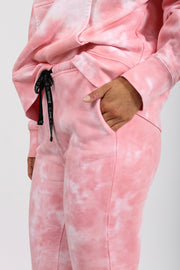 "The ""BRUNETTE HEARTS JUICY"" Best Friend Pink Marble Tie-Dye Jogger"