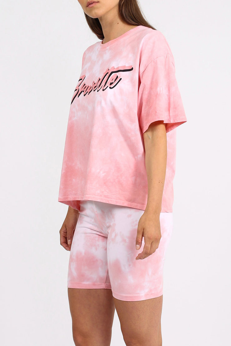 "The ""BRUNETTE"" Pink Marble Tie-Dye Boxy Tee"