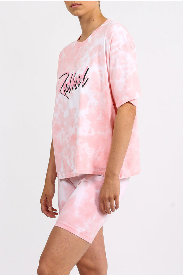 "The ""REDHEAD"" Pink Marble Tie-Dye Boxy Tee"