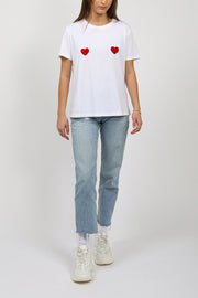 "The ""DOUBLE HEARTS"" Classic Crew Neck Tee 