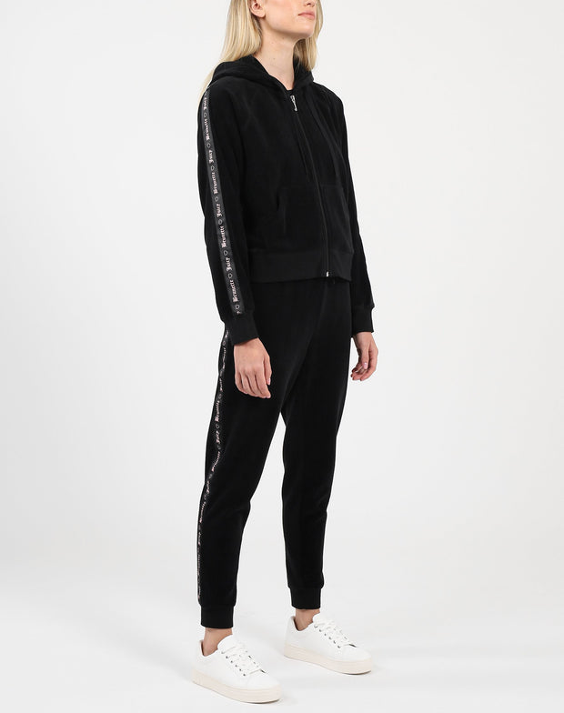 "The ""BRUNETTE LOVES JUICY"" Black Velour Track Jacket"