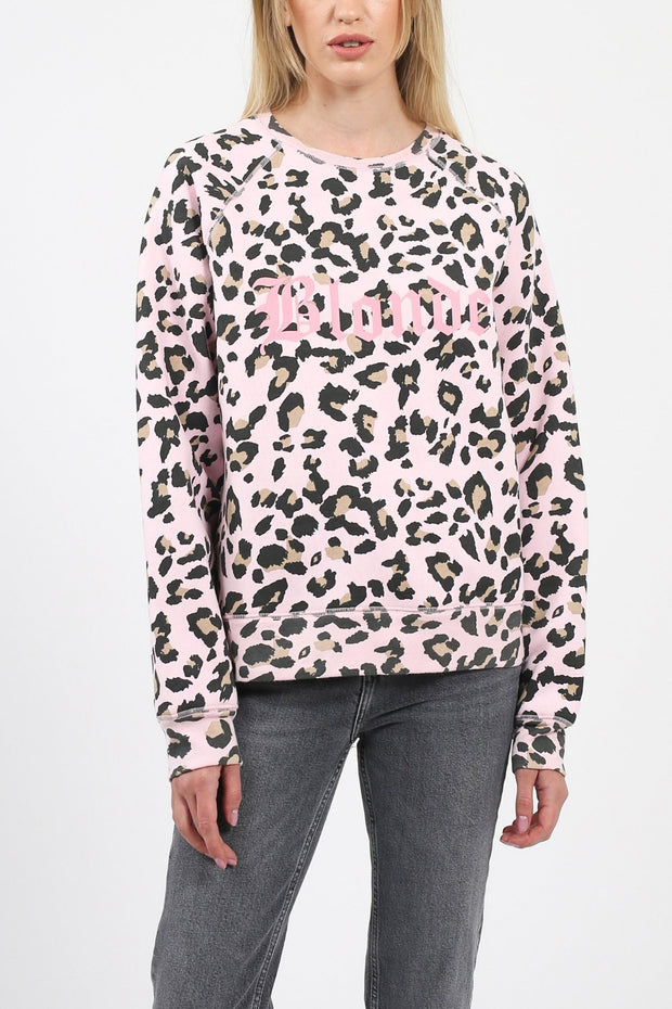"The ""BLONDE"" Pink Leopard Middle Sister Crew Neck Sweatshirt"