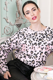 "The ""BRUNETTE"" Pink Leopard Middle Sister Crew Neck Sweatshirt"