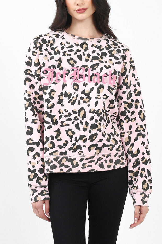 "The ""JET BLACK"" Pink Leopard Middle Sister Crew Neck Sweatshirt"