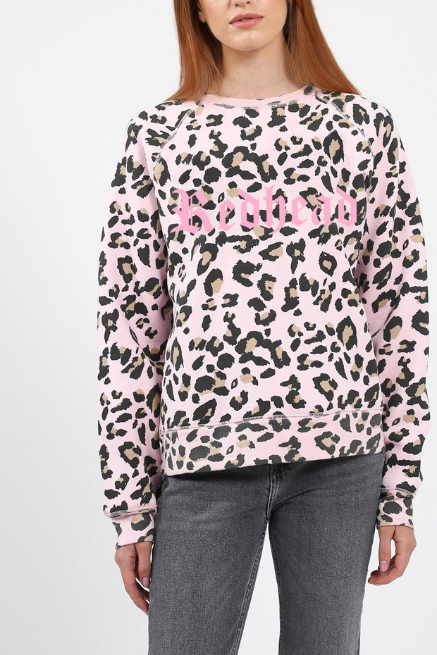"The ""REDHEAD"" Pink Leopard Middle Sister Crew Neck Sweatshirt"