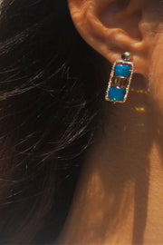 Carribean Blue Earring - Asymmetrical - ShopAuthentique